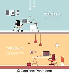辦公室人們, 不, 工作場所, 電腦, 工作區, 書桌椅子, 空