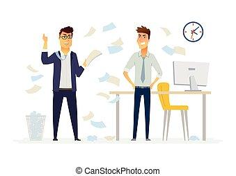 辦公室人們, 現代, -, 插圖, 老板, 字符, 狂怒, 卡通