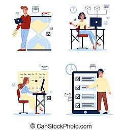 辦公室人們, set., 工作, 年輕, 書桌, 坐