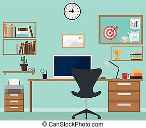辦公室內部, 工作區