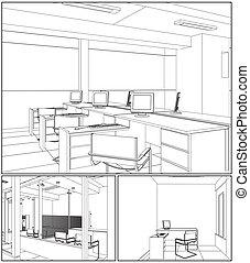 辦公室內部, 房間