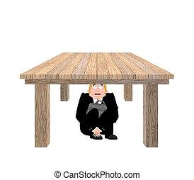 辦公室, 事務, 桌子。, 惊嚇, 工作, 插圖, 老板, desk., 矢量, 在下面, board., 商人, 懼怕, 受驚, 人