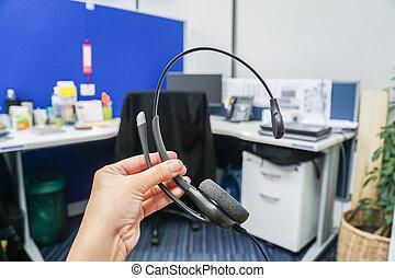 辦公室, 事務, 耳機, 公司, 握住, callcenter