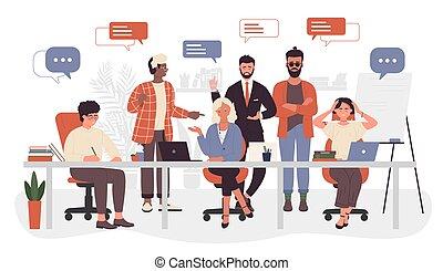 辦公室, 事務, openspace, 辦公室, 會議, 配合, 聊天, 工人, 公司, 人們