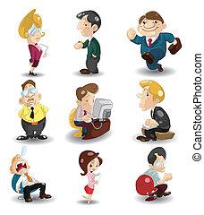 辦公室, 卡通, 圖象, 工人