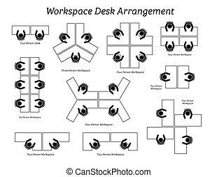 辦公室, 安排, 工作區, 書桌, company.