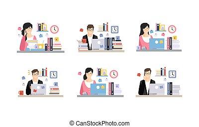 辦公室, 工作, 卡通, 天, 字符, 集合, 商業描述, 工作場所, 現代, 雇員, 矢量, 人們