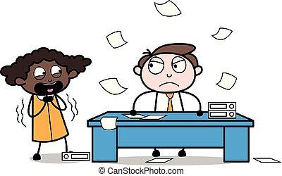 辦公室, 惊嚇, -, 插圖, 老板, 矢量, 雇員, 商人, 卡通