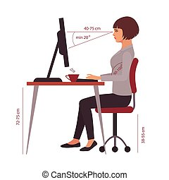 辦公室, 正確, 坐, 姿勢, 位置, 書桌