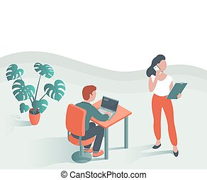 辦公室。, 現代, 年輕, 工作, 人們