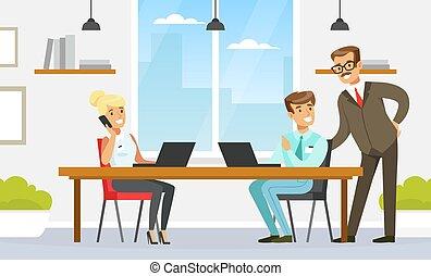 辦公室, 給, 插圖, 老板, 人們, 室內, 風格, 內部, 事務, 矢量, 工作, 雇員, 建議, 計算机, 套間, 空間