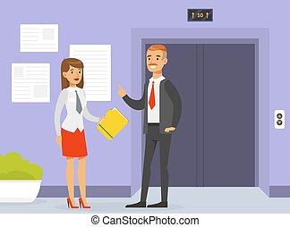 辦公室, 給, 插圖, 電梯, 男性, 老板, 人們, 秘書, 站立, 他的, 事務, 矢量, 建議, 套間