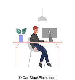 辦公室, 膝上型, 人坐, 字, 矢量, 年輕, 插圖, 桌子, 工作, 事務