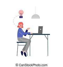 辦公室, 膝上型, 婦女坐, 字, 矢量, 年輕, 插圖, 桌子, 工作, 事務