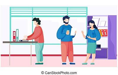 辦公室, 談話。, 便衣, 被給穿衣, 人們, 桌子, 坐, 工人, 膝上型