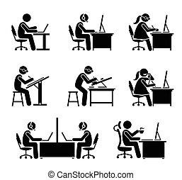 辦公室。, 雇員, 電腦, 膝上型, 工作