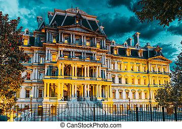 辦公室, ave, house., 賓夕法尼亞, 華盛頓, 美國, eisenhower, 建築物, 經理人, 白色