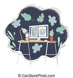 辦公室, desktop., 插圖, 矢量, 現代, 內部, 家