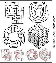 迷津, 迷宮, 集合, 或者, 圖表