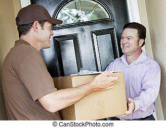 送貨人, 包裹, 收到