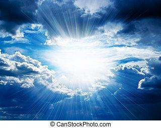 透過, 打破, 光線, 云霧, 陽光