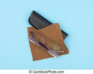 透鏡, 布, 案件, 眼鏡, 背景。, 關心, 藍色