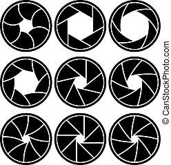 透鏡, 被隔离, 形狀, 背景。, 矢量, 孔徑, 白色, 刀片