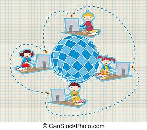 通訊, 學校, 全球的网絡, 社會
