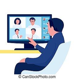 通訊, 組, concept., 在網上, 人, 會議, 影像, 隊, conference., 人們。, 矢量