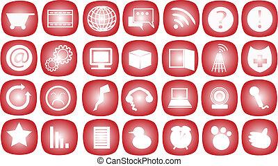 通訊, vect, 紅色, 圖象