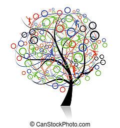 連接, 人們, 樹, 网