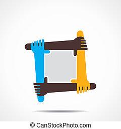 連接, 手, 圖象, 概念