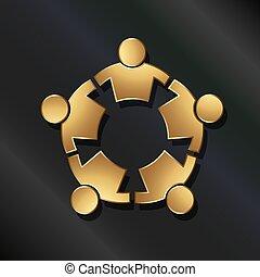 連線, 人們, circle., 強有力, 配合, 圖象, 矢量, 黃金, 5