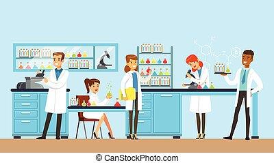 進行, 婦女, 科學, 插圖, 研究, 矢量, 科學家, 內部, 實驗室, 實驗室, 人