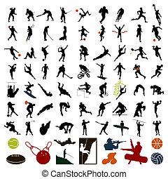 運動員, 插圖, colour., 黑色半面畫像, 矢量, 黑色