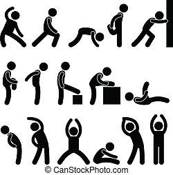 運動, 伸展, 練習, 人們