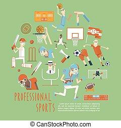 運動, 專業人員, 海報, 具有競爭性, 隊, 概念