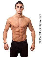 運動, shirtless, 人