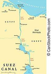 運河, 地圖, 政治, 蘇伊士