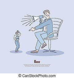 過份, 雇員, 使用, 工人, 力量, 壓力, 濫用, 濫用, 工作場所, 旗幟, 雇主, verbally, 經理