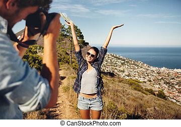 遠足, 圖片, 拿, 年輕, 當時, 夫婦, 愉快