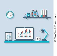 遮蔽, 套間, 設計師, 辦公室, 簡單, 現代, 長, 應用, 內部, 對象, 接口, 圖象, 桌面, 元素, 風格