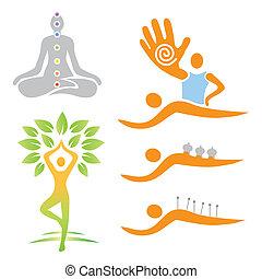 選擇, medi, 瑜伽, 按摩, 圖象