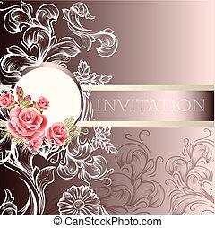 邀請, 婚禮, 卡片, 雅致