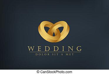 邀請, 戒指, 創造性, 設計, 婚禮, 標識語, template., 卡片
