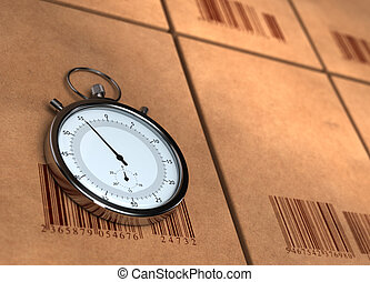 邊, 權利, barecodes, 左, render, 空間, -, 在上方, 被放在适當位置, 模仿, 被模糊不清, 箱子, 精密記時計, 很多, stopwatch, 紙盒, 邊, 3d