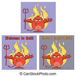 邪惡, devil., 集合, 紅色, 彙整