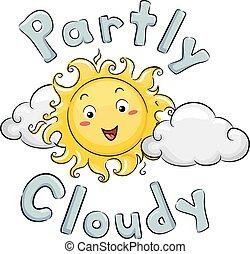 部分, 吉祥人, 太陽, 多雲, 插圖, 天氣