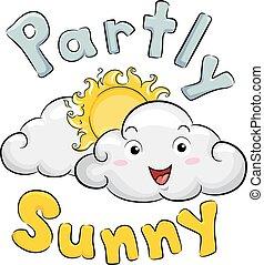 部分, 吉祥人, 插圖, 雲, 陽光普照, 天氣