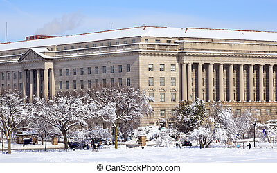 部門, 大道, dc, 商業, 雪, 華盛頓, 憲法, 以後
